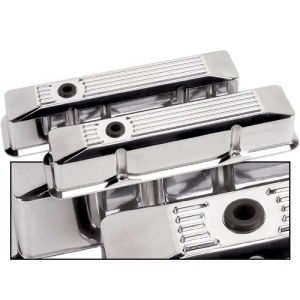 Billet Valve Cover Chevrolet SB (Tall) Ribbed Polished Photo Main
