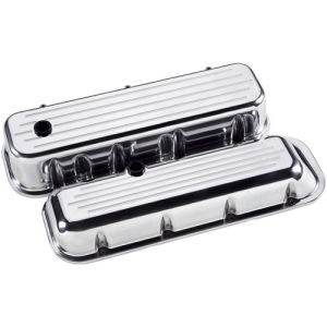 Billet Valve Cover Chevrolet BB (Tall) Ball Milled Polished Photo Main