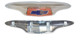 1954-55 1st Series Chevrolet Truck Hood Emblem (w/ fasteners), Stainless Steel w/ Painted Details Photo Main