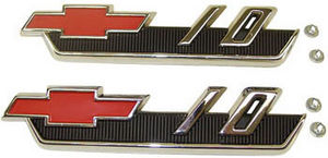 "1962 Chevrolet Truck ""10 WITH BOWTIE"" Cowl Panel Side Emblems, (w/ fasteners) Photo Main"