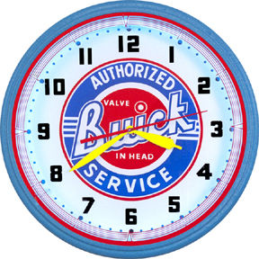 Buick Authorized Service Neon Clock with White Neon Main Image