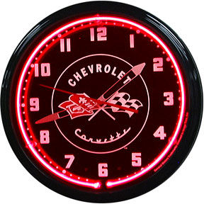 1953-55 Chevrolet Corvette Neon Clock with Red Neon Photo Main