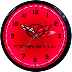 Corvette C5 Neon Clock with Red Neon Photo Main