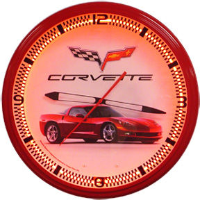 Corvette C6 Red Neon Clock with Red Neon Photo Main