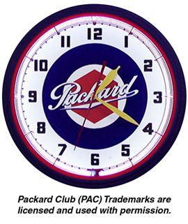Packard Neon Clock with White Neon Photo Main