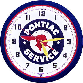 Pontiac Service Neon Clock with White Neon Photo Main