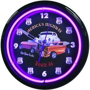 Americas Highway Route 66 Neon Clock with Purple Neon Photo Main