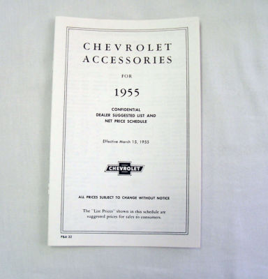 1955 Chevrolet New car retail accesory price booklet Photo Main