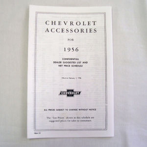 1956 Chevrolet New car retail accesory price booklet Photo Main