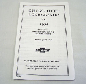 1954/1954T Chevrolet New car/truck retail accesory price booklet Photo Main