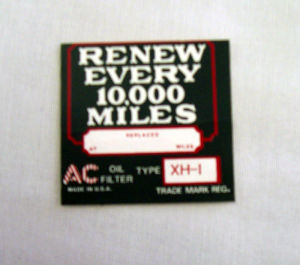 1926-32 Chevrolet Oil filter decal XH-1 Photo Main