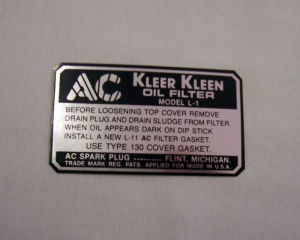 1932-36 Chevrolet Oil filter decal L-1 Photo Main