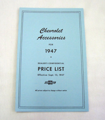 1947/1947T Chevrolet New car/truck retail accesory price booklet Photo Main