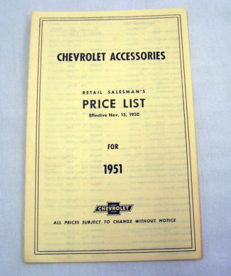 1951/1951T Chevrolet New car/truck retail accesory price booklet Photo Main