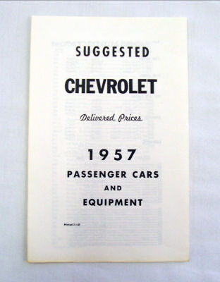 1957 Chevrolet Delivered new car retail price list Photo Main