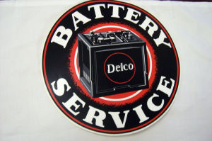 1936-43 Chevrolet Delco battery service decal Photo Main