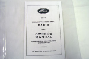1940 Ford Radio owners manual (Philco) Photo Main