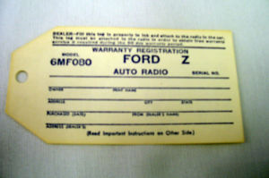 1946-48 Ford Radio warranty tag Photo Main