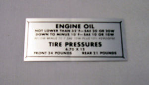 1949-51 Ford Glove box tire pressure decal Photo Main