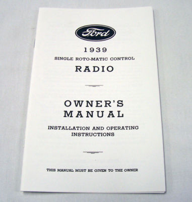 1939 Ford Radio owners manual Photo Main