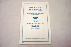 1947 Ford Radio owners manual Photo Main
