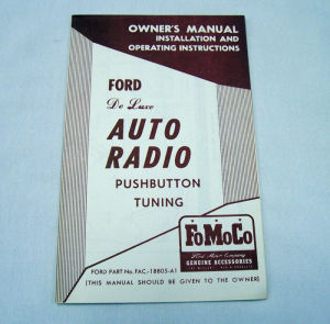 1952 Ford Radio owners manual (Deluxe) Photo Main