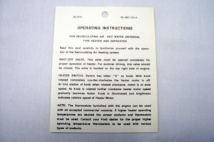 1950 Ford Heater instruction tag Photo Main