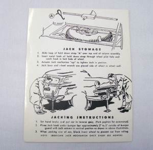 1952-56 Ford Station wagon jack instructions decal Photo Main