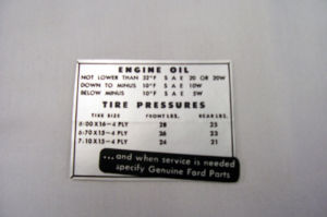 1952 Ford Glove box tire and oil pressure decal Photo Main