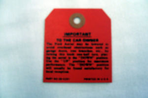 1937-39 Ford Roof Antenna Instruction Tag Photo Main