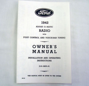 1941 Ford Radio owners manual Photo Main