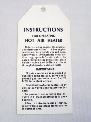1940 Ford Hot air heater instruction card Photo Main