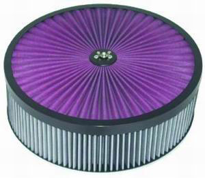 14X4 Air Cleaner Black Trim Super Flow W/ Flat Base - Washable Element Photo Main