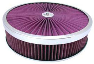 14X3 Air Cleaner Chrome Trim Super Flow W/ Dominator Base - Washable Element Photo Main
