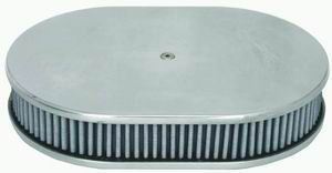 "Polished Aluminum 12"" X 2"" Oval Air Cleaner - Plain-  Washable Element Photo Main"