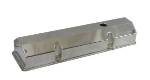 1958-86 SB Chevrolet Fabricated Aluminum Flat Top Anodized Valve Covers - Tall, Plain w/ Holes   Photo Main