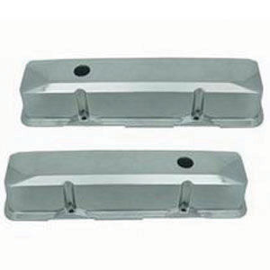 1958-86 SB Chevrolet Recessed Aluminum Chromed Valve Covers - Tall, Plain w/ Holes   Photo Main