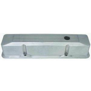 1958-86 SB Chevrolet Recessed Aluminum Chromed Valve Covers - Tall, Ball-Milled w/ Holes Photo Main