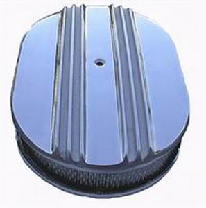 "Polished Aluminum Half Finned Oval Air Cleaner 12""X 2"" Paper Element Photo Main"