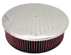 14X4 Air Cleaner Ballmilled Polished Aluminum W/ Dominator Base - Washable Element Photo Main