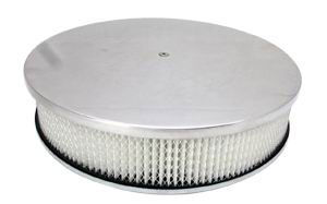 14X3 Air Cleaner Plain Polished Aluminum W/ Dominator Base - Paper Element Photo Main