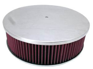 14X4 Air Cleaner Plain Polished Aluminum W/ Recessed Base - Washable Element Photo Main