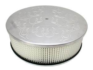 14X4 Air Cleaner Plain Polished Aluminum W/ Dominator Base - Washable Element Photo Main