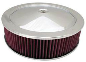 "Chrome Muscle Car Style Air Cleaner W/ Flat Base 14"" X 4"" - Washable Element Photo Main"