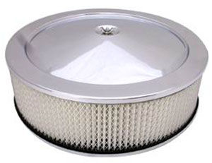 "Chrome Muscle Car Style Air Cleaner W/ Hi-Lip Base 14"" X 4"" - Paper Element Photo Main"