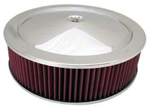 "Chrome Muscle Car Style Air Cleaner W/ Hi-Lip Base 14"" X 4"" - Washable Element Photo Main"