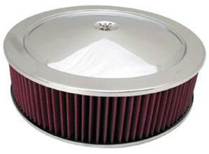 "Stainless Muscle Car Style Air Cleaner W/ Hi-Lip Base 14"" X 4""- Washable Element Photo Main"