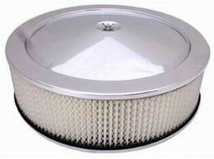 "Stainless Muscle Car Style Air Cleaner W/ Off-Set Base 14"" X 4"" - Paper Element Photo Main"