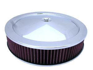 "Chrome Muscle Car Style Air Cleaner W/ Recessed Base 14"" X 3"" - Washable Element Photo Main"
