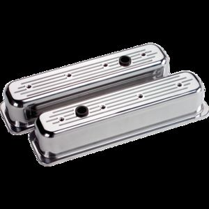 Billet Centerbolt Valve Cover Chevrolet SB (Tall) Ball Milled Polished Photo Main